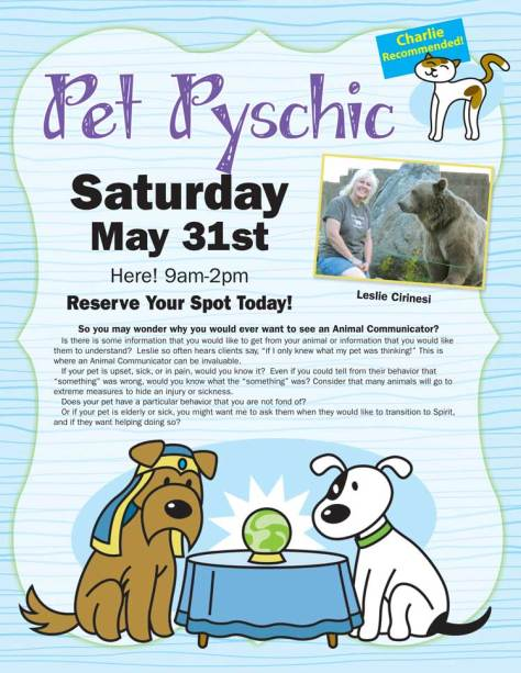 Pet Psychic May 31st Healthy Dogma~Lake Orion, Mi